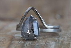 Natural Geometric Grey Salt + Pepper Diamond Ring