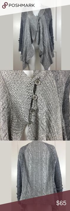 Free People Asymmetrical Hem Gray Mix Knit Sweater Gently used with no holes, tears, or stains. Wool blend cable knit. Size small. The buttons do not seem to be adjustable. Free People Sweaters Cardigans