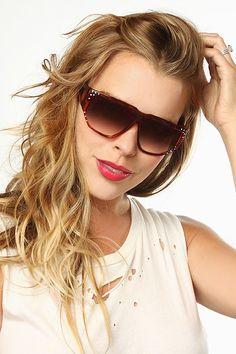 'Alabama' Vintage Rhinestone Flat Top Sunglasses - Black - 5402-1