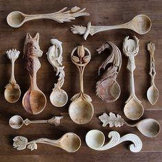 """voiceofnature: """" Amazing woodcarved spoons by Giles Newman. He resides in northern Wales and makes individually designed and hand crafted green wood spoons carved using only traditional hand tools...."""