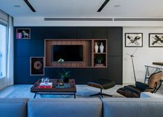 A Modern, Minimalist Apartment in Tel Aviv - Design Milk Small Apartment Interior, Apartment Furniture, Furniture Deals, Living Room Furniture, Home Furniture, Furniture Design, Cool Apartments, Luxury Apartments, Tv Wall Mount Designs