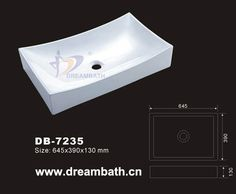Product Name:Wash Sink Model No.: DB-7235 Dimension: 645X390X130mm (1 inch = 25.4 mm) Volume: 0.043CBM Gross Weight: 21KGS (1 KG ≈ 2.2 LBS) Sink shape: Rectangular
