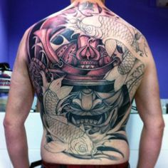 100 Japanese Samurai Mask Tattoo Designs For Men Japanese Back Tattoo, Japanese Tattoos For Men, Japanese Tattoo Symbols, Japanese Sleeve Tattoos, Full Sleeve Tattoos, Hanya Mask Tattoo, Oni Tattoo, Samurai Back Tattoo, Samourai Tattoo