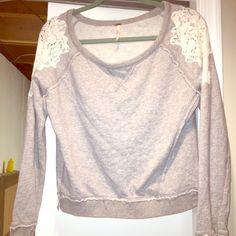 CrOp Sweat Top  Gray and Lace shoulder detail crop Sweatshirt top by Free People. Free People Tops Sweatshirts & Hoodies
