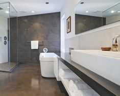 Solid Surface Bathroom Countertops Design, Pictures, Remodel, Decor and Ideas - page 60- Like the wall, big tiles & color of tiles