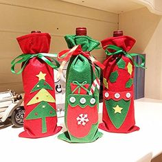 3pcs/lot Santa Claus Wine Bottle of Champagne Wine Gift Bags of Candy Bag Christmas Decorations Christmas Gift Bags - Brought to you by Avarsha.com