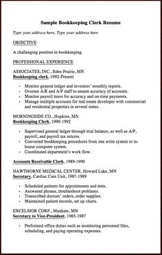bookkeeping clerk resume