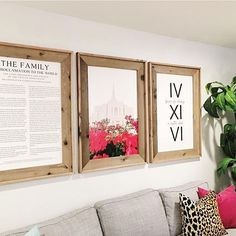 These amazing signs looks perfect on this wall above a grey couch with a pop of color and animal print!