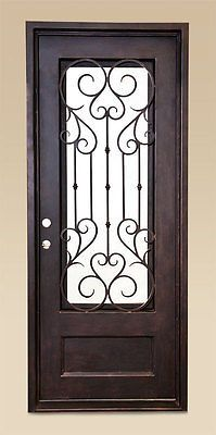 NEW-40-X-96-Wrought-Iron-Entry-Door-Grant-Single-with-Clear-Low-E-Glass
