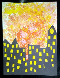 Art for kids, school projects, new ideas, artists and techniques. Sunset Background, Kindergarten Art, Autumn Art, Art Classroom, Happy Kids, Cityscapes, Warm Colors, Art Lessons, Silhouettes