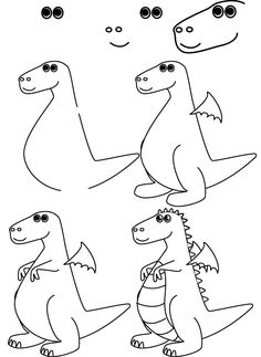 Coloring Pages For Kids: How To Draw A Simple Dragon More
