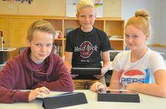 Die Schüler der Klasse 9a des Gymnasiums,hier (v.l.) Luca Inkmann, Lukas Nachtigäller und Alisa Mondry, freuen sich über den Einsatz der mB...