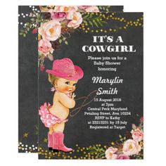 Chalkboard Rustic Cowgirl Baby Shower Card - rustic style country natural diy customize personalize