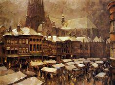 Dio Rovers De markt van Breda in de winter. 1951