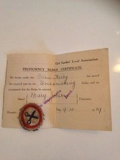RARE-1919-GIRL-GUIDE-BADGE-FELT-DRESS-MAKING-WITH-PROFICIENCY-BADGE-CERTIFICATE Guides Uniform, Guide Badges, Merit Badge, Girl Guides, Girl Scouts, Dress Making, Certificate, Felt, Place Card Holders