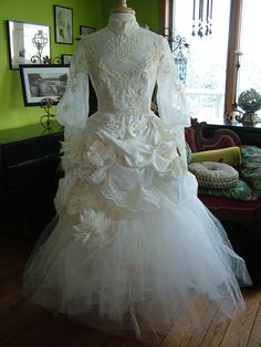 Vintage Wedding Dress Altered art wedding gown steampunk victorian tea length original handmade weddings. $899.00, via Etsy.