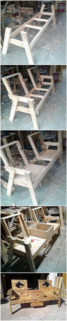 Wondrous Ideas Made with Recycled Wood Pallets Catch up with this interesting design of the chairs or bench that is created so superbly. This chairs or bench with table design is finished with the col Wooden Pallet Projects, Woodworking Projects Diy, Wooden Pallets, Woodworking Plans, Pallet Ideas, Wooden Sofa, Woodworking Furniture, Woodworking Shop, Diy Outdoor Furniture