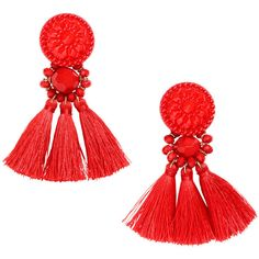 Earrings with Tassels $12.99 (174.015 IDR) ❤ liked on Polyvore featuring jewelry, earrings, earring jewelry, beaded jewelry, red jewelry, beading earrings and tassel earrings