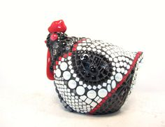 Black and White Mosaic 3d Chicken  the perfect accent by JillsJoy, $160.00