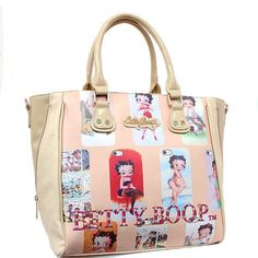 This Official Betty Boop® Tote Style Handbag features: - Images of Betty Boop® grace the front with her name in gems at the bottom and in goldtone nameplate at the top. - Satin interior lining. - Pate