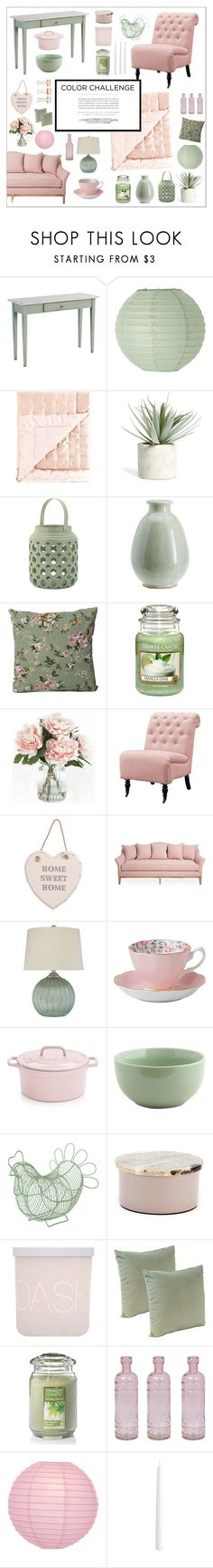 """""""Colour challenge   green & blush"""" by atlanta-j ❤ liked on Polyvore featuring interior, interiors, interior design, home, home decor, interior decorating, DutchCrafters, Bloomingville, Allstate Floral and Pottery Barn"""