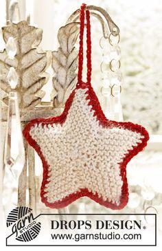 """DROPS Extra 0-873 - Estrella DROPS de Navidad, de punto, en """"Cotton Viscose"""" y """"Kid-Silk"""". - Free pattern by DROPS Design"""