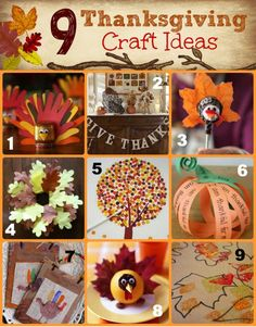 9 Thanksgiving Craft Ideas, Easy DIY to create a fun decor for your party. Fun activities for kids too!