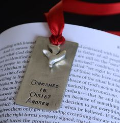New Personalized Confirmation Bookmarks and Dog Tag Pendants for Boys!