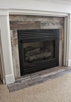 distressed wood tiles for fireplace surround