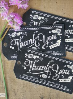 Free Printable Chalkboard Style Thank You Gift Tags which you can personalize