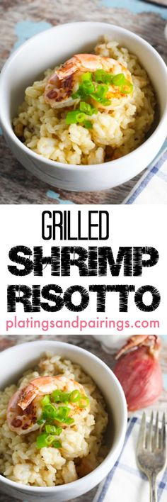 Quick marinated grilled shrimp top this delicious risotto. I was SURPRISED how easy this was!!!