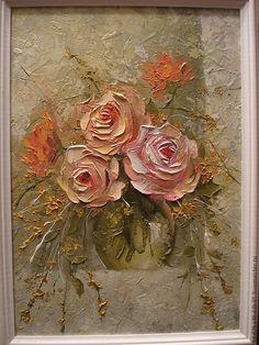 Купить Садовые розы - розовый, картина, картина в подарок, картина для интерьера, картина маслом