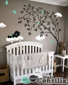 """Baby Nursery Wall Decals - Tree Wall Decal - Tree Decal - Teddy Decal - Large: approx 79"""" x 62"""" - KC029"""