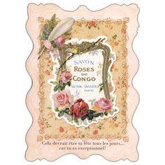 ポストカード【イラスト】フレンチアンティーク/「毎日があなたの誕生日でもいいのに...だってあなたは特別だもの!」ベビーピンク系 ダイカット(heart)