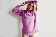 Léa Seydoux on Supreme Box Logo sweater