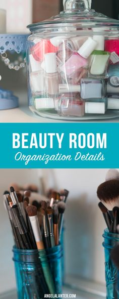 Beauty Room organization, every detail of my beauty room and office. Angela Lanter, home decoration, makeup organization, nail polish organization, lipsticks organization, brushes organization, boxes for organization, beauty products, shelves, easy way of organizing your stuff. #organization #homedecor #houseorganization #beautyroom #makeuporganization