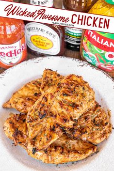 Wicked Awesome Chicken – seriously delicious!!! Only 4 ingredients! Chicken marinated in Italian dressing, Dale's Steak Seasoning, BBQ sauce, and hot sauce. It tastes WICKED AWESOME! Leftovers are great chopped up on top of a salad or in a sandwich wrap. This easy chicken recipe is on repeat in our house! #chicken #marinade Plain Chicken Recipe, Easy Chicken Recipes, Easy Dinner Recipes, Homemade Chicken Marinade, Marinated Chicken Recipes, Summer Grilling Recipes, Cashew Chicken, Turkey Recipes, Sauce Barbecue