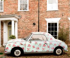 Dream car! I can't help but wonder how much cooler I would be if I owned this. I'd say at least 578% cooler. Floral Nissan Figaro. Vintage, retro car