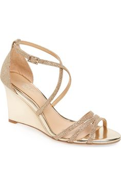 d6893b5b8c86 Badgley Mischka Hunt Glittery Wedge Sandal (Women) available at #Nordstrom  in gold for Allie's wedding? #sandalsheelswedding   Sandals Heels    Sandals, ...