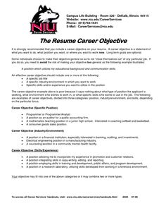 objective resume examples for students