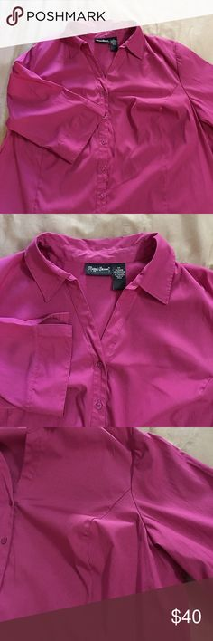 Deep Pink Stretch Blouse 3/4 Sleeves 2X Nice blouse from Catherine's. Polyester, spandex and nylon. Fitted style with cut for bust and waist. New condition. Pretty! Maggie Barnes Tops Blouses