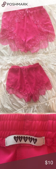 Hot Pink Pink Lace Shorts Drawstring tie, bright vibrant color. Great for summer! Paper Shorts