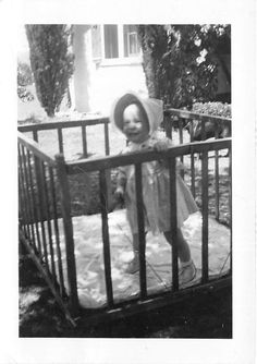 Photograph Snapshot Vintage Black and White: Baby Girl Crib Bonnet Smile 1950's