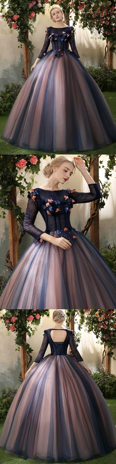 #Ball Gown Prom Dress #Lace Prom Dress #3/4-Length prom dress #long prom dress #Dark Navy prom dress #popular prom dress #2018 prom dress
