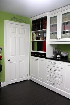 Green craft room - bookcases and cabinets