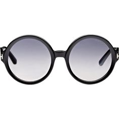 Tom Ford Women's Juliet Sunglasses ($330) ❤ liked on Polyvore featuring accessories, eyewear, sunglasses, glasses, black, round lens sunglasses, oversized glasses, acetate glasses, etched glasses and round acetate sunglasses