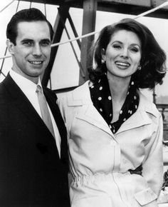 Bradford Dillman and Suzy Parker aboard the Santa Rosa in New York prior to their wedding at sea. April, 1963