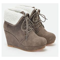 Justfab Booties Genesis ($40) ❤ liked on Polyvore featuring shoes, boots, ankle booties, brown, platform ankle boots, faux suede lace-up booties, lace up high heel boots, brown booties and high heel ankle boots