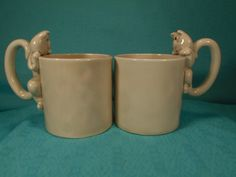 Vintage Cat Mugs, 2 Fitz And Floyd 1978 Catnap Mugs, Cat and Fish Mugs by SETXTreasures on Etsy
