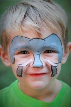 maquillage pour enfants, peinture visage éléphant, idées déco visage pour fêtes